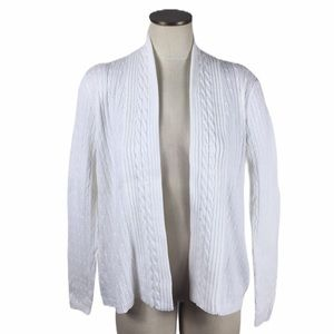 Kim Rogers Cable Knit Ribbed Open Front Cardigan S